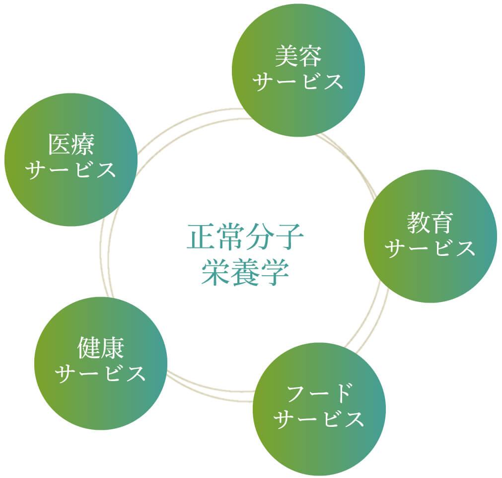 正常分子栄養学:美容サービス、教育サービス、フードサービス、健康サービス、医療サービス